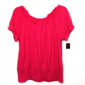 INC Pink Smocked Peasant Top Scoop Neck Large